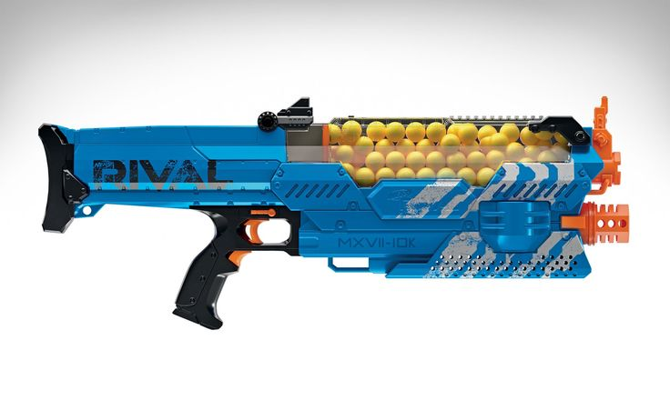 Nerf really doesn't want us modifying their guns for added range or power. And perhaps we won't be forced to anymore once the fully automatic Nerf Rival Nemesis MXVII-10K drops this fall. It shoots balls instead of darts but makes up for that firing speeds of 70 miles per hour by way of two spinning flywheels on the inside. Since the latter are powered by batteries (six...