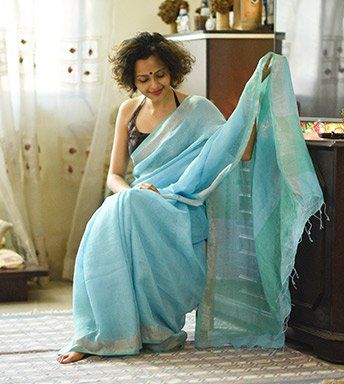 Linen Sarees - Linen- Tiffany Special Blue And Ocean Blue By SuTa PC 20351 - Thumbnail