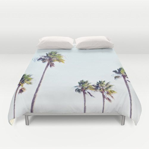 Fort De Soto Palms 2 - Duvet Cover, Light Blue & Green Palm Trees Bedding, Boho Chic Coastal Bed Blanket Throw Cover in Twin Full Queen King by NatureCity on Etsy