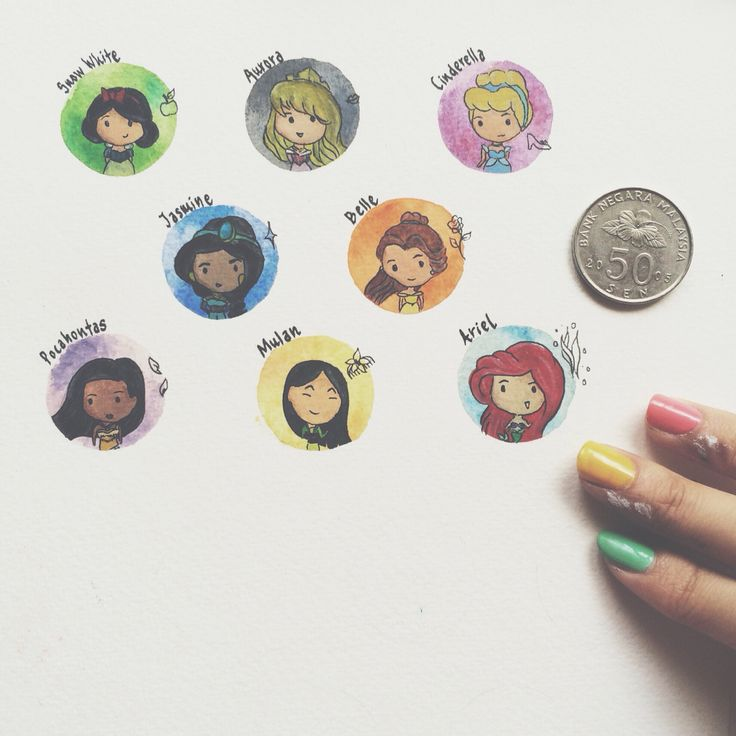 Disney Princesses coin-sized paintings