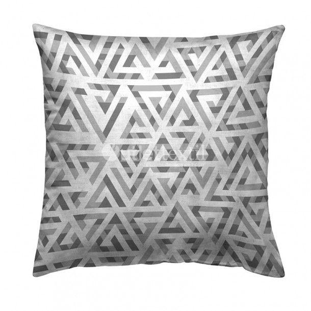 Cojín Decorativo 9109 Zebra Textil. Bonita y sencilla funda de cojín decorativo de estampado digital geométrico en tonos grises, ideal para combinar con la funda nórdica 9009 Zebra Textil.