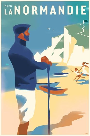 2016 Danish Modern Travel Poster, Visitez la Normandie by Mads Berg