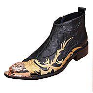 Herre+sko+Lær+Vår+Sommer+Høst+Vinter+Original+Trendy+støvler+Kampstøvler+Komfort+Støvler+Gange+Nagle+Blomst+Kombinasjon+Til+Bryllup+–+NOK+kr.+1.373