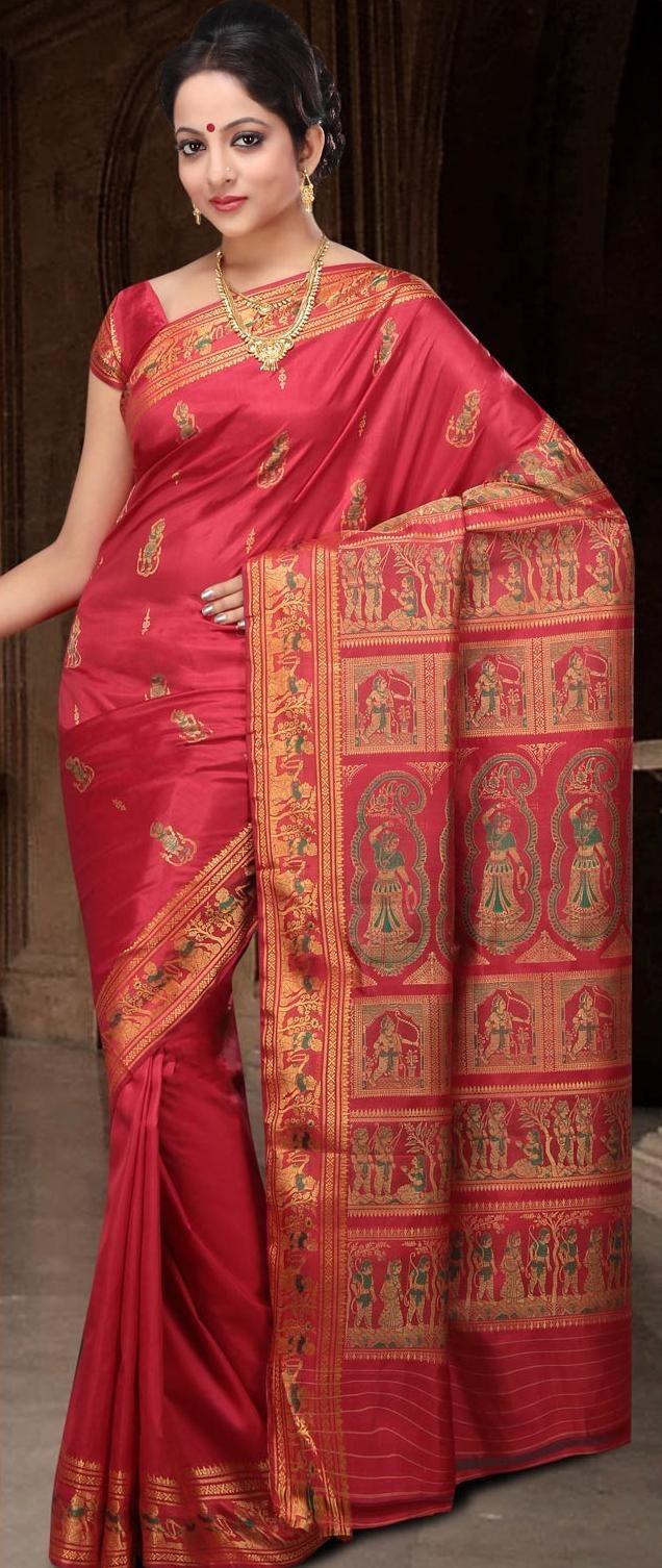 Light Red Bengal Handloom Baluchari #Silk #Saree With #Blouse @ US $177.97