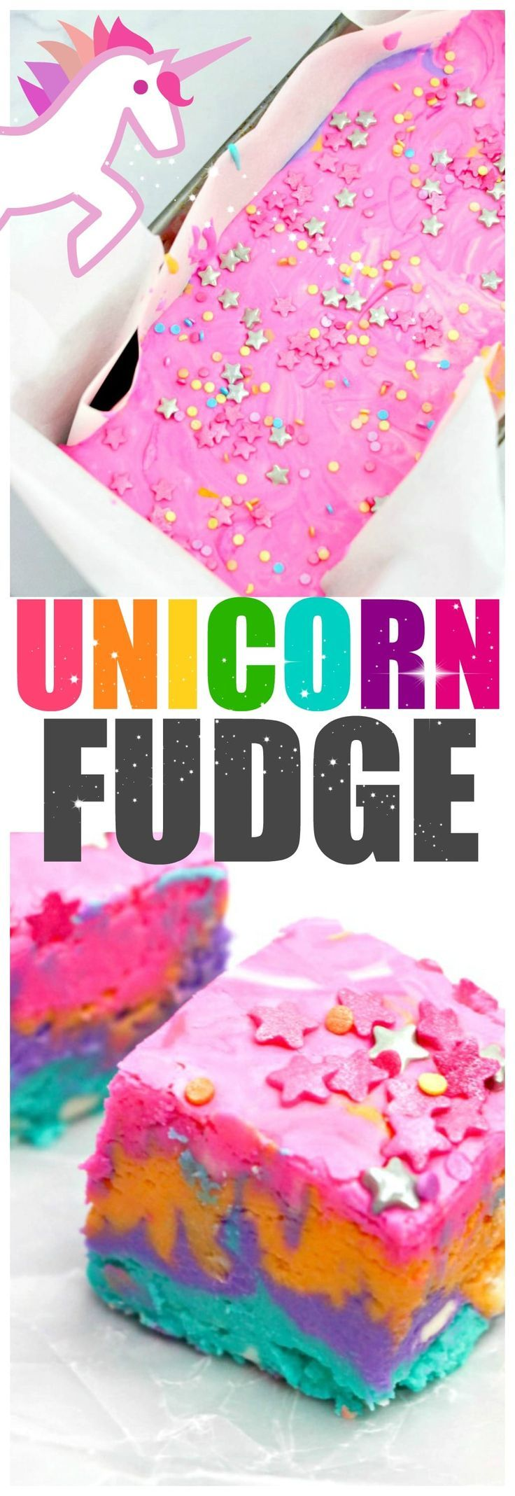 Unicorn Fudge, a rainbow fudge recipe perfect for unicorns and humans both