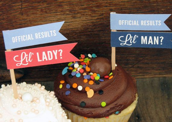 PRINTABLE Gender Reveal Cupcake Toppers by InvitationToMars, $7.00