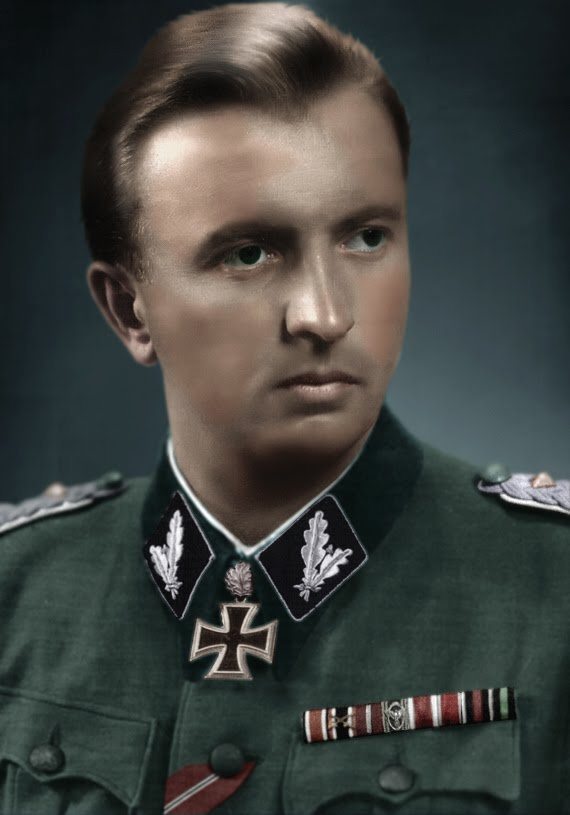 """Hermann Fegelein (1906-1945) was a General of the Waffen-SS. He was a brother-in-law to Eva Braun through his marriage to her sister, Gretl, and thus part of Hitler's entourage. Units under his command on the Eastern Front were responsible for the deaths of over 17,000 civilians in 1941. He was shot for desertion on April 28, 1945. Historian William L. Shirer characterized him as cynical and disreputable, and Albert Speer called him """"one of the most disgusting people in Hitler's circle""""."""
