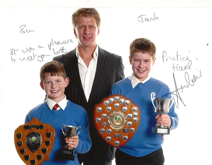 So they won some more trophies. I am not boasting. That's Andrew Castle with my boys.  Many years ago he used to be the British no 1 tennis player. Then he went to in TV and now commentates for the BBC at Wimbledon and very good he is too. I'm still going to post pictures of Kevin Pietersen though as even though I like Andrew very much Kevin is way hotter. Sorry Andrew.