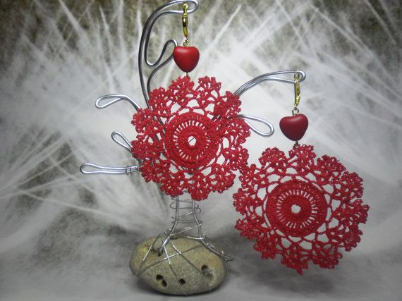 Authentic vintage lace earrings Red collor with gold by BLOWBALLgr, $24.50