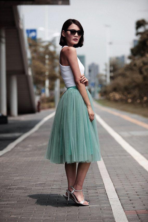 Tulle Skirt Tea length Tutu Skirt Knee length by Sophiaclothing