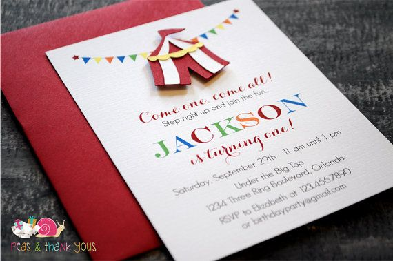 Circus Tent Invitations A2 FLAT carnival invites, birthday party, bunting, handmade die cut
