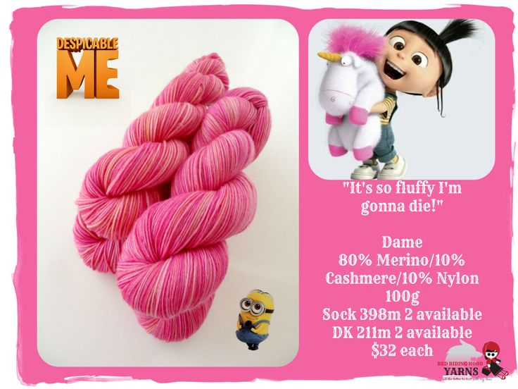 """""""It's so fluffy i'm gonna die!""""  - Despicable Me / Red Riding Hood Yarns"""