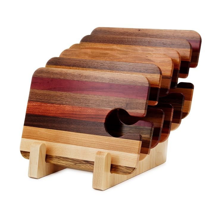 WOODEN PARTY TRAYS - SET OF 6 | wine glass holder, snack tray | UncommonGoods