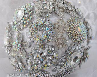 Plata de boda broche ramo, ramo de novia, ramo de cristal, ramo de la joyería, rosas blancas, ramo de novia, ramo de broches, espetar.
