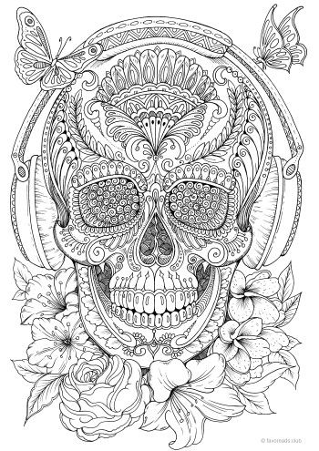 Music Skull Sugar Skulls Day Of The Dead Coloring