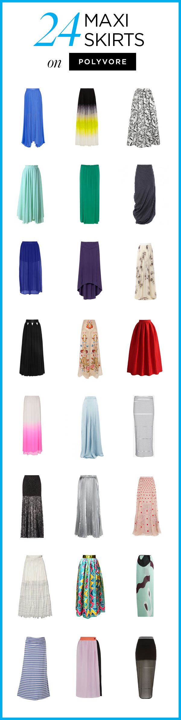 24 Maxi Skirts on Polyvore! Shop all long, lovely skirt styles to find a look you love: http://polyv.re/MaxiSkirts