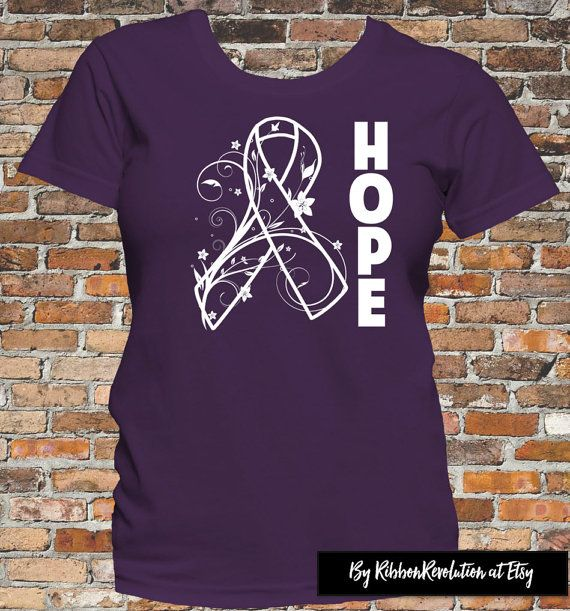 Hope Purple Awareness Ribbon Shirts Alzheimer's Disease, Chiari Malformation, Crohn's Disease, Cystic Fibrosis, Epilepsy, ITP, Lupus, etc
