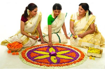 onam celebration -pookalam, Kerala, India