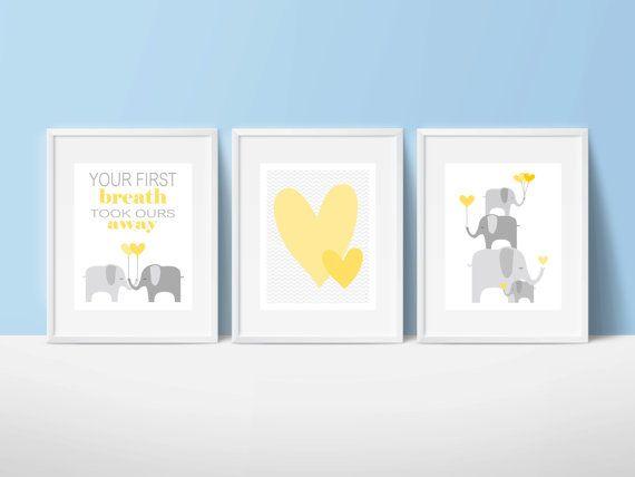 Elephants printable nursery art, instant download, elephant nursery art, grey and yellow nursery decor, elephants nursery decor
