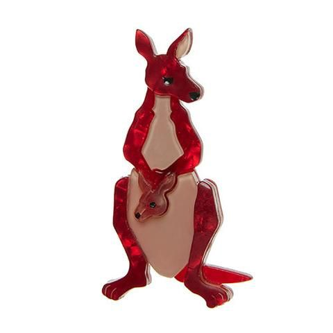 "Erstwilder Limited Edition Roo Ride Along Brooch. ""Our pal Joey always asks: Why hop along when your mum can do it for you? And in such comfort!"""