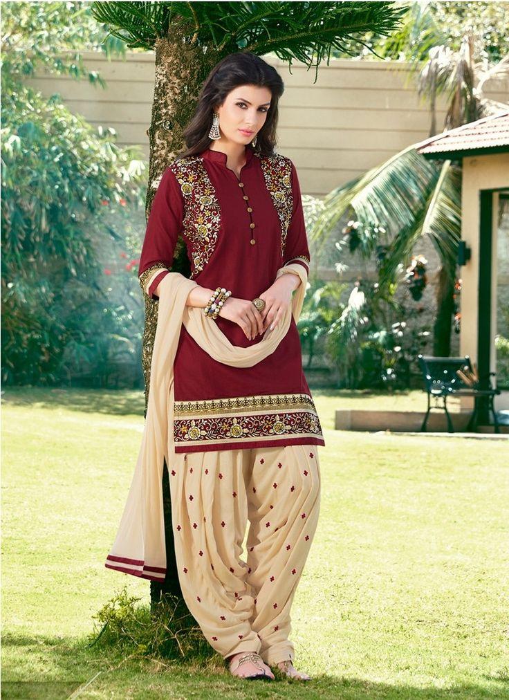 Maroon Cotton Satin Pakistani Salwar Suit #salwar #salwarkameez #salwarsuits…