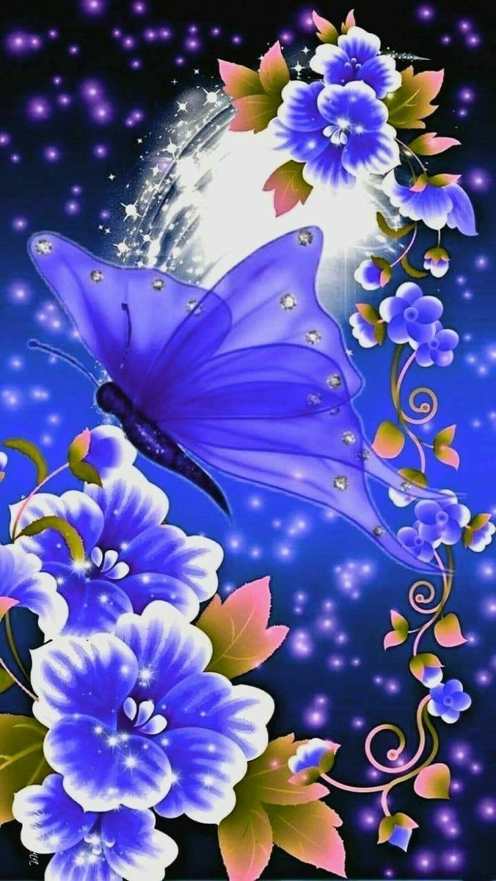 Blue Butterfly Wallpaper Flower Phone Wallpaper Butterfly