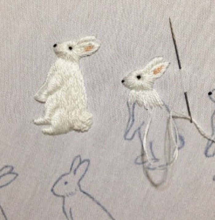 Embroidery rabbit, so cute