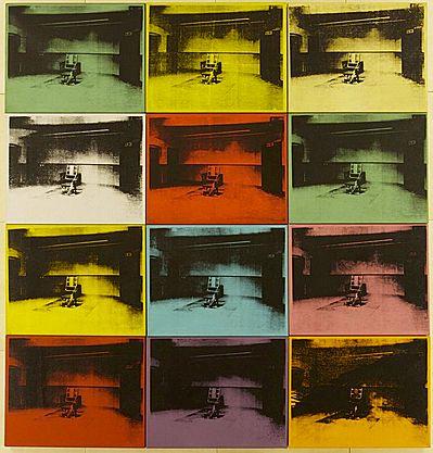 """Electric chair, 1964, Andy Warhol Electric chair, 1964,Andy…""""On n'imagine pas le nombre de personnes qui accrocheraient chez elles le tableau de la chaise électrique, surtout si les coloris de la toile s'harmonisent avec les rideaux"""""""