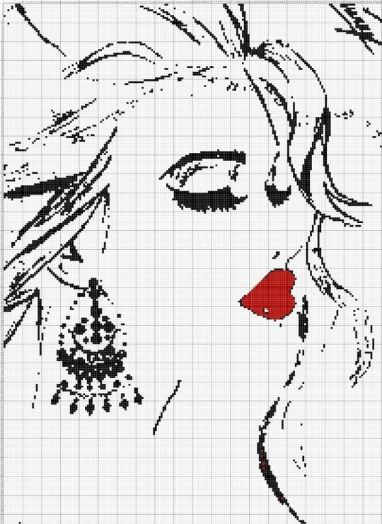 0 point de croix fille levres rouges boucles d'oreilles  - cross stitch girl with red lips earrings