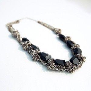 Twist Black Biker Choker Punk Chain Bib Necklace