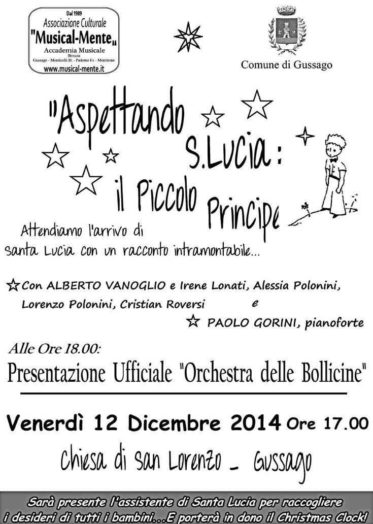 """Venerdì 12 dicembre """"Aspettando Santa Lucia"""" e presentazione Orchestra Bollicine - http://www.gussagonews.it/aspettando-santa-lucia-presentazione-orchestra-bollicine-dicembre-2014-gussago/"""