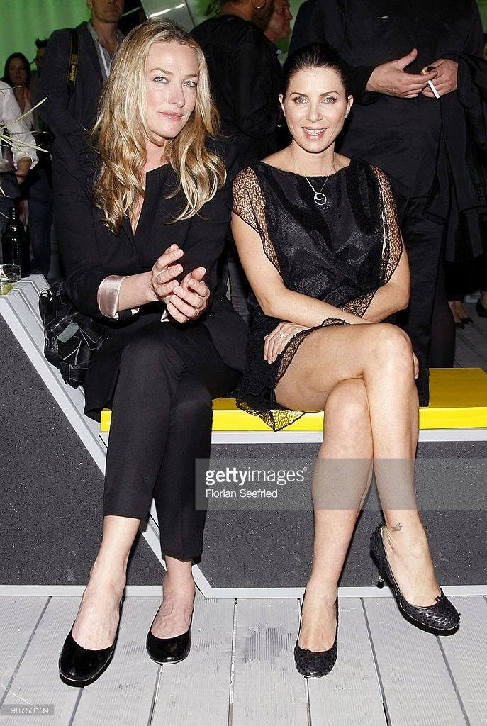 Model Tatjana Patitz and actress Sadie Frost (former wife of Jude Law) attend the 'smart fortwo electric drive' presentation at the 'smart urban stage 2010' opening on April 29, 2010 in Berlin, Germany.