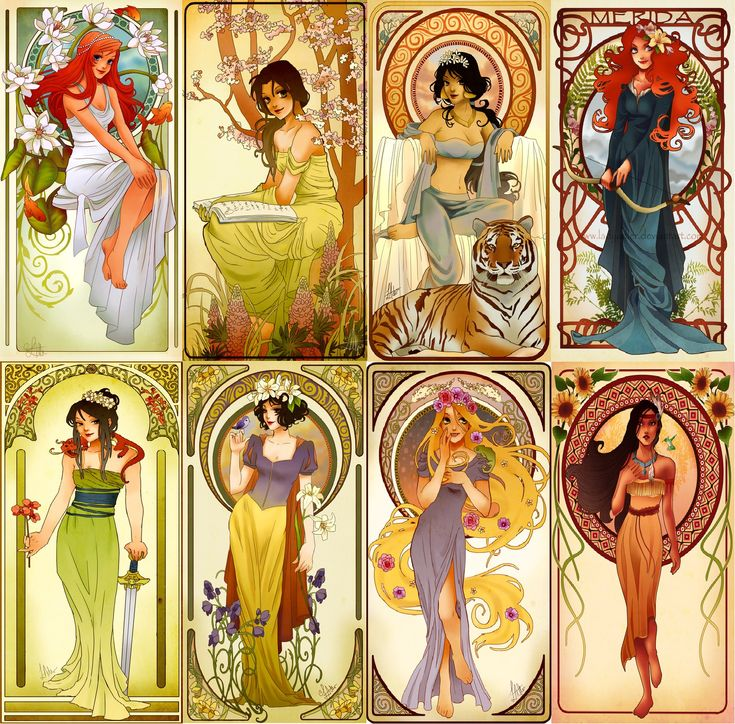 Disney Nouveau - The Princesses of Rebirth, Ambition, Passion, Determination, The Warrior, Innocence, Freedom, and Power.