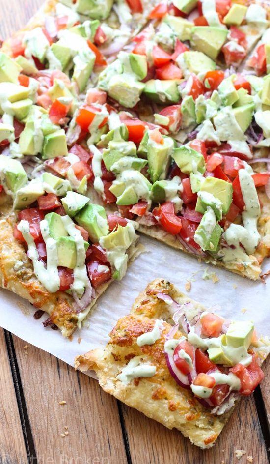 Skinny Avocado Pizza   SO good!!