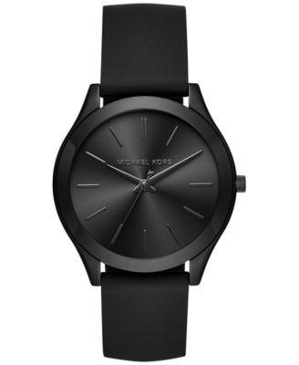 Michael Kors Women's Slim Runway Sporty Black Silicone Strap Watch 42mm MK2513…