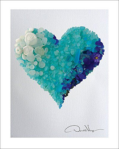 """LOVE"" - Rare Cobalt Blues & Aqua Ombré Sea Glass Heart - Fine Art 11""x14"" Lithograph Poster Print. #24 from The Heart Collection - A Unique and Great Gift for Anniversary, Birthday, Valentines Day, Mothers Day, Fathers Day, Wedding, Kids & Best Christmas"