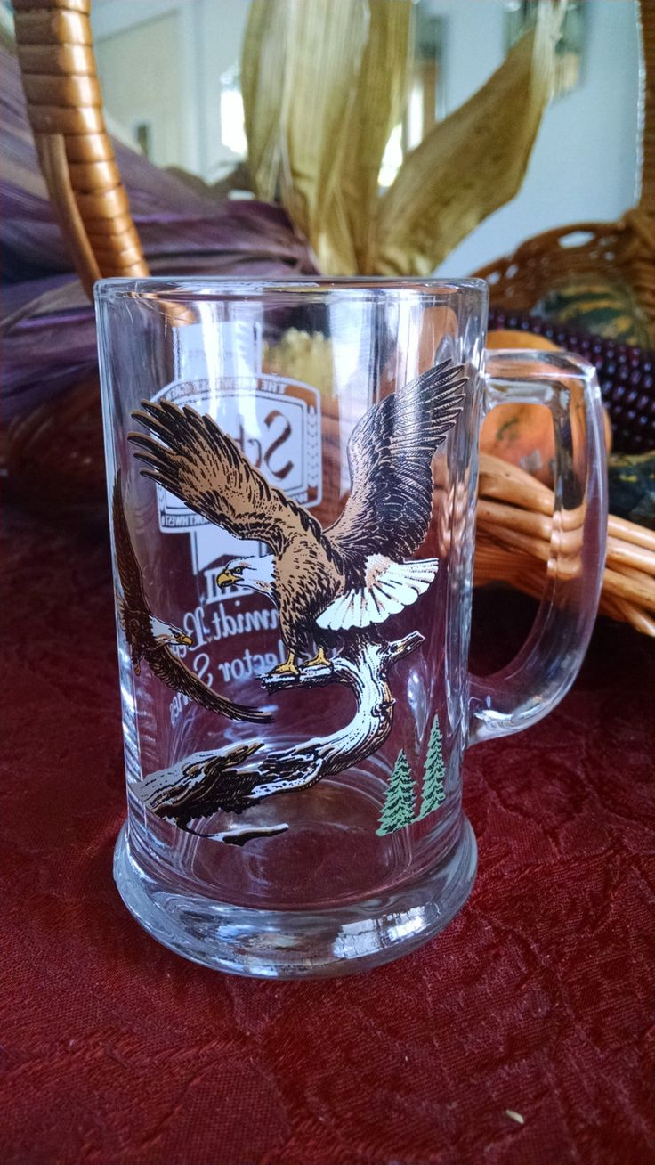 """Vintage Schmidt Beer Stein Mug Collectors Series VIII. Eagles series III measures 5.5""""high x 3""""wide. Heavy Glass Mug is in good condition. by PawPawsFrontPorch on Etsy"""