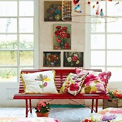 Red bench, floral brocade, frenchstyle doors