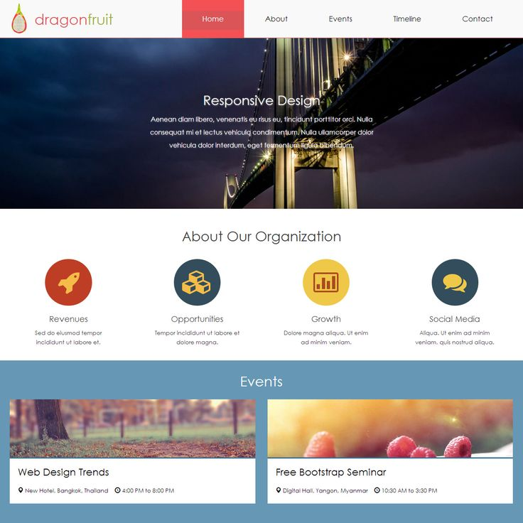 Dragonfruit is animated HTML5 template using jQuery and Bootstrap. This layout features a variety of different sections such as events and timeline. #WebDesign #HTML5 #Bootstrap