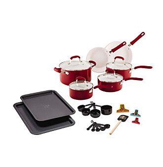 Guy Fieri 25-pc. Red Ceramic Cookware Set