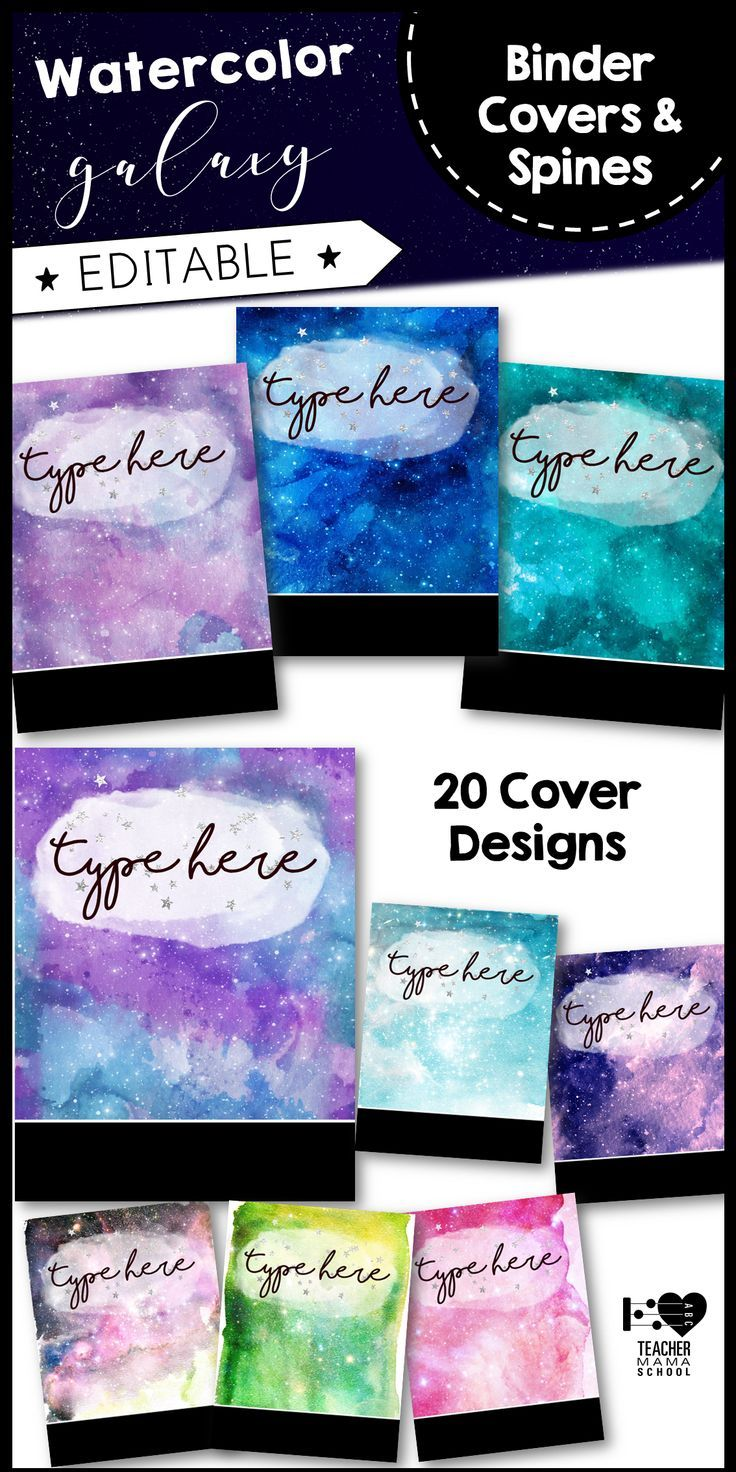 Watercolor Galaxy Space Binder Covers And Spines Editable