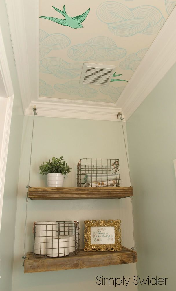 I so wish I had a powder room so I could do this wall paper on ceiling idea!