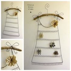 Les portes boucles d'oreilles sont de retour en boutique! Portes boucles d'oreilles fil de fer, bois flotté et fleur de papier. ...