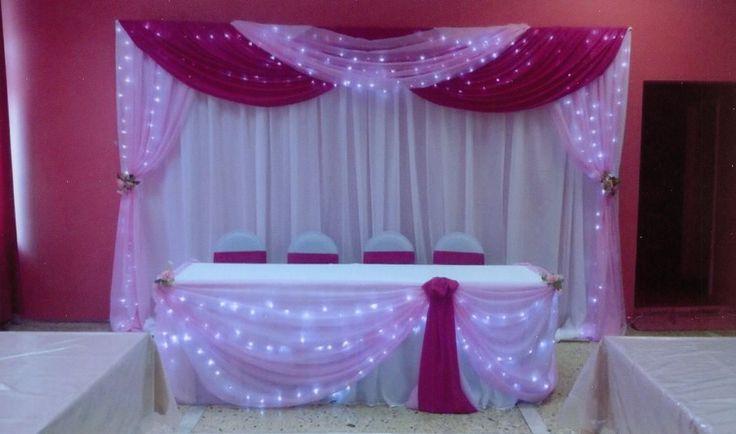 Оформление зала для свадьбы в розовых тонах: задник, декор стола молодых…