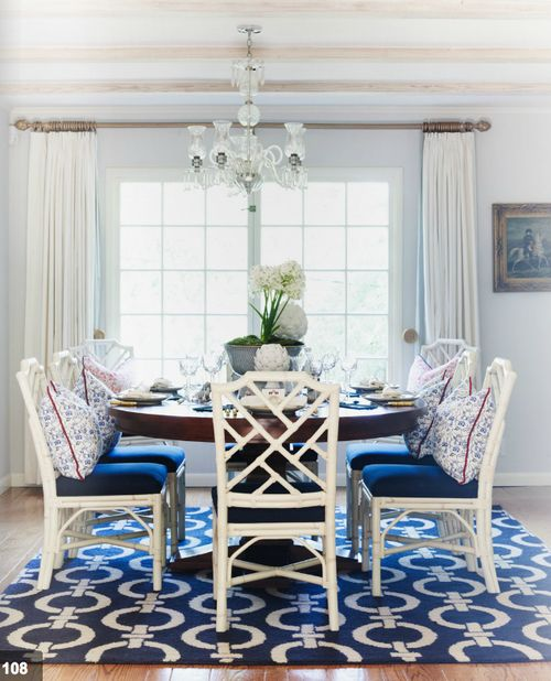 Dining Room. Really love the blue!
