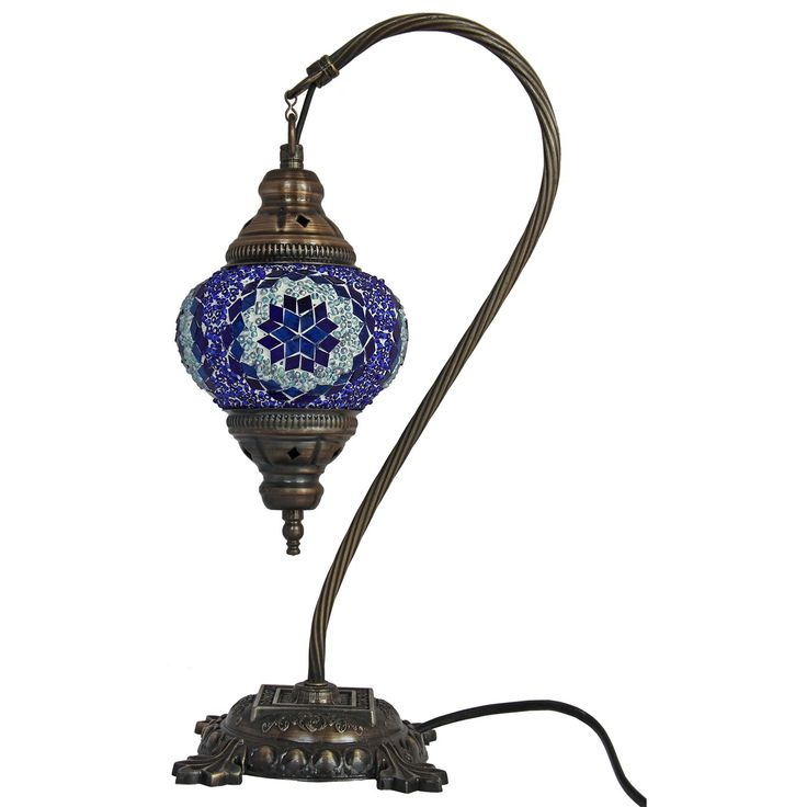 Mosaic Table Lamp,16.5 inches height, Desk Light, Lantern, Boho Lamps, Eclectic Decorating, Moroccan House, Marrakesh Design, Turkish Lights, Rustic Furniture, Beach Style, Christmas Gift. Dimensions ; 16.5 inches height x 5.5 inches lamp diameter. Cozy shades of dark antique bronze colored metal with blue make this table lamp the perfect choice for a den, study, office or bedroom. Our artisans have delicately set each piece of hand cut glass by handcraft in the mosaic pattern.The natural...