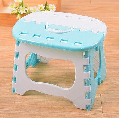 Light Blue Plastic Folding Stool Bright Blue Stools Para Children Step Ottoman Home Furniture For Kid Sitting Picnic Stools #Affiliate