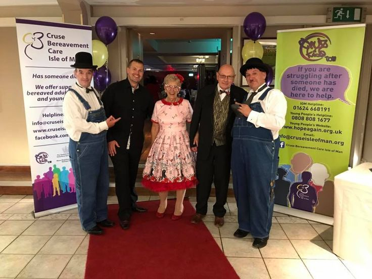 Laurel & Hardy Lookalikes posing for a photo with Lee Helwich and Sally Helwich's lovely mum and dad. Sally's mum Judy was celebrating her 70th birthday at the 1940's Themed Event, Charity Evening - Cruse Bereavement Care, Isle of Man.