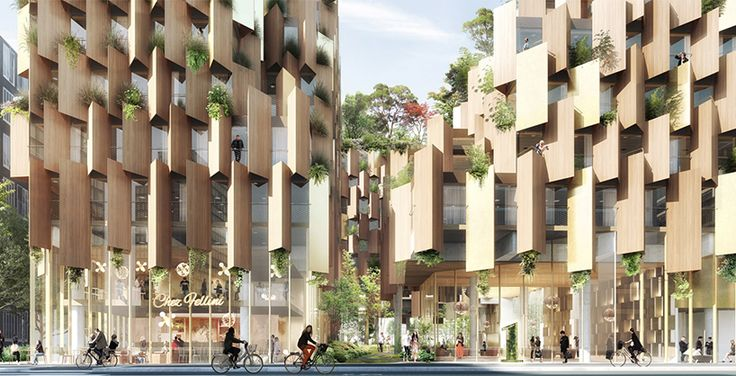 to be sited above the railways in paris' rive guuche district and the building itself overflowing with greenery to become a 'green lung' for the neighborhood.
