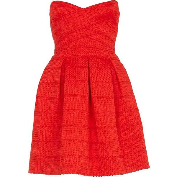 River Island Red rib box pleat prom dress (€34) ❤ liked on Polyvore featuring dresses, vestidos, robe, sukienki, sale, red carpet dresses, red holiday cocktail dress, sweetheart cocktail dress, holiday cocktail dresses and cocktail prom dress